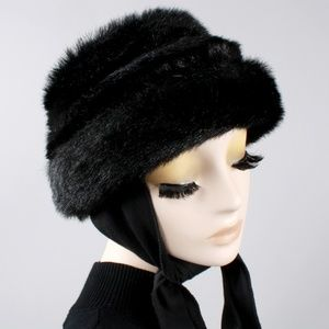 Vintage 60s 70s Faux Fur Vegan Winter Hat Scarf
